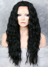 Jet Black HEAT SAFE Lace Front Wig Wispy Wavy Long Layered NGFT 1