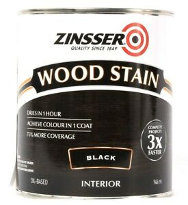 1 Can Zinsser 32 Oz Wood Stain 331484 Black Interior More Coverage Dries In 1Hr