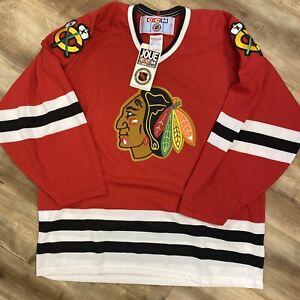 CHICAGO BLACKHAWKS NHL HOCKEY VINTAGE 90s CCM AIR KNIT JERSEY ADULT LARGE BNWT