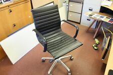Eames style office chair in Chrome with castors and real Italian leather