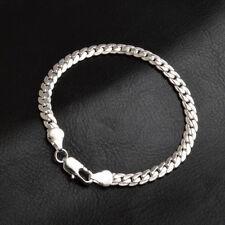 18K Gold Plated 5MM Flat Chain Necklace Bracelet Women Men Jewelry Accessories