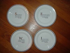 """Reduced:New Restoration Hardware Gold Trimmed 7"""" Quote Plates, Great Gift Idea!"""