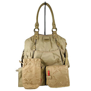 STORKSAK Olivia Nylon Diaper Crossbody Bag Gold Colored With Gold Tone Hardware