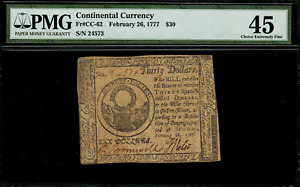 Continental Currency - CC-62 - February 26, 1777 $30 - Graded PMG 45