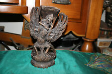 Antique India Hinduism Hand Carved Wood God Vishnu Riding Garuda-Religious