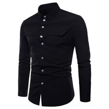Luxury Mens Formal Casual Suits Slim Fit Dress Shirts Long Sleeve Work Top Shirt