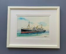 """Original Framed Watercolour and Ink """"SS Largs Bay Entering Fremantle""""."""