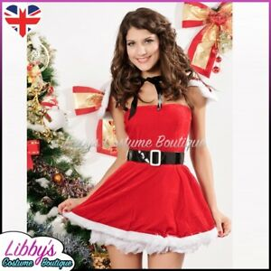 Ladies Mrs Miss Santa Claus ChistmasXmas Sexy Fancy Dress Costume Outfit UK 8-12