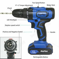 Drill 2 Speed Electric Cordless Drill / Driver with Bits Set & Battery 21-Volt