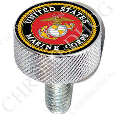 LG Show Chrome - Billet Aluminum Knurled Seat Bolt for Harley - US Marine Corps