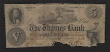 "Norwich, Connecticut, $5.00,1856 Obsolete Banknote, ""The Thames Bank"", SENC!"
