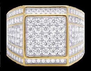 14K YELLOW GOLD FN 3.00 CARAT MENS DIAMOND ENGAGEMENT WEDDING PINKY RING BAND