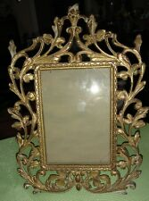 "Antique Victorian Baroque Ornate Bronze Easel Table Top Frame 13"" Tall 5"" x 7"""