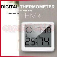 THERMOMETER HYGROMETER INDOOR TEMPERATURE HUMIDITY METER DIGITAL TIME CLOCK