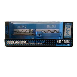 HOT TOOLS Blue Ice Titanium TI Curly-Q Petite Tapered Curling Iron HTBL1850 NIB