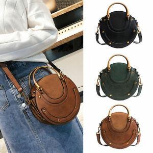 Women Round Handbag PU Leather Messenger Crossbody Shoulder Zipper Bag Purse