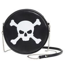 Skull Crossbones Black Purse Round Vinyl Shoulder Bag Handbag Alchemy Gothic GB7