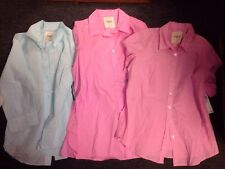Izod Size Medium Large Lot Of 3 Button Down Blouse Tops Blue Pink New Tags