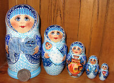 Nesting Russian Doll Matryoshka 5 MATT Cat Baby Sidorova Blue White signed wood
