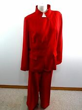 METROSTYLE WOMENS RED POLYESTER PANT SUIT SIZE 16