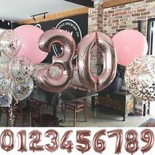 Zahl Luftballon XL 75CM Nummer Folienballon Kinder Geburtstag Deko Rose