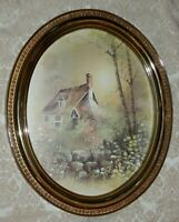 Vintage HOMCO Home Interiors Picture in GOLD OVAL FRAME 19 x 15