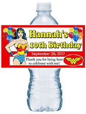 20 WONDER WOMAN BIRTHDAY PARTY FAVORS ~ WATER BOTTLE LABELS  waterproof ink