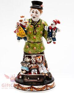 Gzhel mayolika porcelain figurine of folk peasant Puppet Master Puppeteer dolls