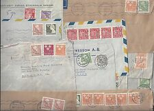 Sweden 1940s Collection Of 10 Commercial Covers All To Us Franked W/Various Coil