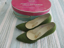 Vtg Palizzio 1950s Silk Shoes Sz 5.5 B Green Heels Pointed Toe Shoes with Box