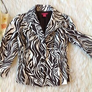 Sunny Leigh 8 Lined Zebra animal Print Brown Blazer Rouched Sides Jacket Stretch