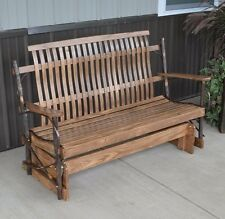 RUSTIC HICKORY AND OAK 4 FOOT PORCH GLIDER Walnut Stain Amish Made USA
