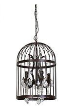 plafonnier pillenore Cage pour oiseaux ROUILLE MARRON 5 à flammes LAMPE lustre