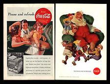 Original 1938 Coca Cola Soda Pop Santa Claus & Helpers Young Girls Car Print Ads
