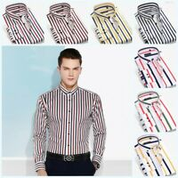 Men's Business Striped Shirts Long sleeve Button Front Formal Dress Tops Casual