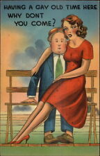 A GAY OLD TIME - Beautiful Large Breasted Woman on Man's Lap Comic PC rpx