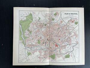 1894 Vintage antique CITY Plan Map of BRISTOL in colour