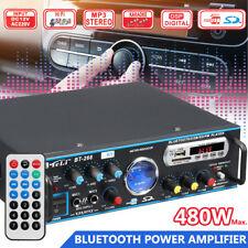 480W bluetooth Stereo Amplifier HIFI 2CH Tuner Remote Control FM SD Mic   y