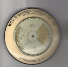Will & Baumer CANDLE Co 1924 Pocket Mirror Perpetual  CALENDAR Dial SYRACUSE