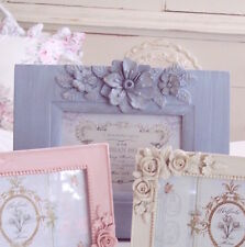 SHABBY SUMMER COTTAGE CHIC GRAY BLUE SPRINGS FLOWERS PICTURE FRAME WEDDING GIFT