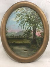 Orig. 18thC White Mountains NH Folk Art Sunset Lake Landscape Oil Painting