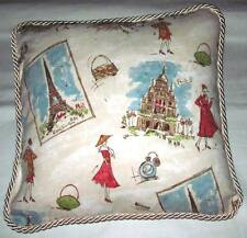 Waverly French Country Cottage Tres Chic Pillow Blue Ivory Peach