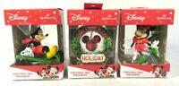 Lot of 3 Hallmark Disney Christmas Ornaments Mickey Minnie Wreath New Box NIB