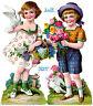 uralter wunderschöner Oblaten Bogen Blumenkinder L&B 32217 - DIE CUT SCRAPS