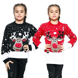 Kids Girls Boy Knitted Reindeer Christmas Rudolf Xmas Novelty Jumper Sweater Top