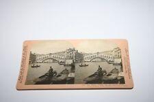 Venedig Rialto Brücke Alte Orig. Foto Stereo, Stereographie, 18x9cm /i8765