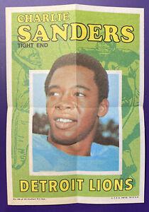 Charlie Sanders - Lions 1971 Topps Football Pin Ups Poster Insert #26 of 32
