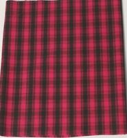 Vintage 100% Cotton Quilt Fabric USA Fuschia and Black Plaid