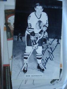 Bobby Schmautz signed B&W J.D. McCarthy postcard Blackhawks