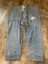 Nike Size Large Gray 3/4 length cropped active sweatpants pull on capris elastic